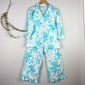 Lilly Pulitzer Teal and White Floral Pajama Set